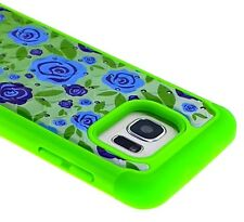 For Samsung Galaxy S7 Edge - HYBRID DIAMOND BLING ARMOR CASE GREEN BLUE FLOWERS