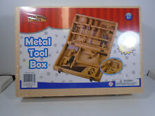Real Wood Toys Wood Tool Box with Metal Toy Functional Tools 16 Pieces Sealed
