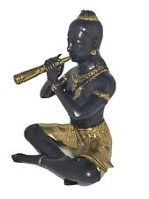 Vintage Thai Black & Bronze Statue of Prince Phra Aphai Mani Playing a Flute.