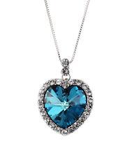 Beautiful Blue Heart Diamond Pendant Necklace Casual Shiney Silver