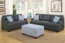 Polyfiber Covered 2Pc Sofa Set Sofa & Loveseat Slate Black Living Room Furniture