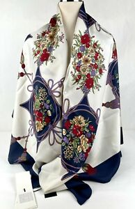 New Gucci Ivory Floral Silk Large Scarf Shawl with Red Trim 551066 9270