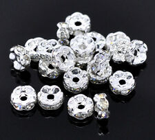 30 Clear Rhinestone Rondelle 5mm Spacer Beads Wavy Silver Plated J00509A