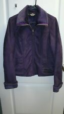 Harley Davidson Women's Jacket PURPLE Faux Suede Zip Up Coat Faux Fur Trim M