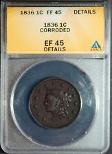 1836 1C Coronet Head Cent **EF45**
