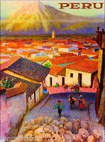 Visit Peru Inca Incas South America Vintage Travel Advertisement Art  Poster