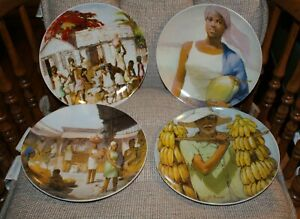 Dominican Painter Plutarco Andujar Arte De Cafe Collector 4 Plate Fast Shipping