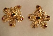18k GOLD Stunning Leaf Shaped Earrings with small precious stones by M.Mor