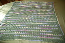 CROCHET handmade afghan accent throw baby blanket soft acrylic NEW green 37 x 37