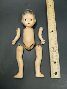 """VTG Antique Baby 9"""" Composition Wood Baby Doll for Parts"""
