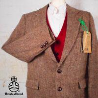 40R HARRIS TWEED Blazer Jacket Suit - Brown Herringbone Hacking Wedding #310