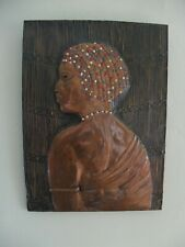 More details for vintage african copper and coloured wall hanging of zulu woman
