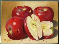 VINTAGE RED DELICIOUS APPLES FRUIT BOTANICAL MINIATURE REALISM OIL ART PAINTING
