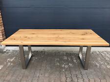 Tisch Esstisch Wildeiche massiv geölt Baumkante  Edelstahl Gestell 240x100 cm