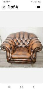 Thomas Lloyd Tan Brown leather tub chair