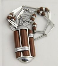 ANTIQUE Jewelry JAKOB BENGEL GALALITH & CHROME MACHINE AGE ART DECO NECKLACE