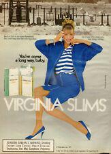 1987 vintage tobacco AD VIRGINIA SLIMS Cigarettes Mrs. Jones blue 122616