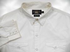 RALPH LAUREN RRL DOUBLE RL MENS LARGE WESTERN COWBOY SHIRT STYLISH WHITE PEARL