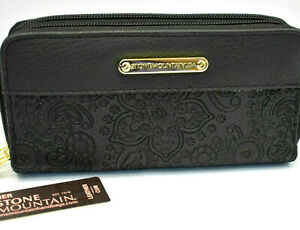 Stone Mountain Black Leather Paisley Zip Around Wallet & Checkbook NEW