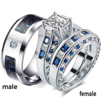 2 Rings Couple Rings Stainless Steel Mens Ring CZ Women's Ring Wedding Ring Sets