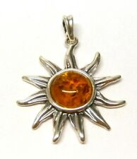 Handmade 925 Sterling Silver Flower / Sun Pendant with Real Baltic Cognac Amber