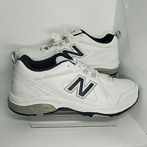 New Balance 608 Mens 12 White Navy Blue Gray Silver MX608V3W Trainer Dad Shoes