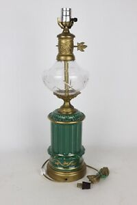 """Vintage Gold Painted Green Glazed Ceramic/Glass/Brass 22"""" Electric Table Lamp"""