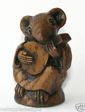Church Mouse Musician Playing Mandolin Music Reproduction Carving Musical Gift