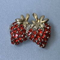 Vintage Red Rhinestone Strawberry Brooch Pin Small Size Silver Gold Tone Dainty