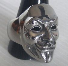 silver Guy Fawkes mask Biker Ring Custom Sized Hacker Rebel computer tech R-119s