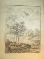 Ecole FRANCAISE XVIII DESSIN PIERRE NOIRE PAYSAGE ANIME ART POPULAIRE 1780 f