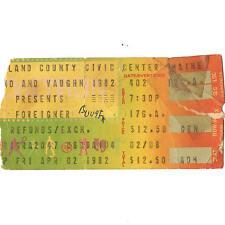 Foreigner & Bryan Adams Concert Ticket Stub Portland Me 4/2/82 Cumberland County