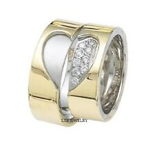 MATCHING 14K TWO TONE GOLD HIS&HERS WEDDING BANDS RING MENS WOMENS SETS DIAMONDS