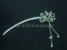 Victorian style antiqued silvertone black stone hair stick hairstick chignon pin
