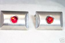 VINTAGE STERLING SILVER CUFFLINKS WITH RED STONE