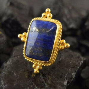 Lapis Lazuli Gold Plated Ring 925 Sterling Silver Ring Wide Ring All Size CK-188