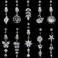 1x Surgical Steel Zircon Crystal Flower Belly Navel Ring Body Piercing Jewelry