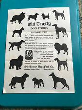Illustrated OLD TRUSTY DOG FOODS FLYER American Kennel Gazette, vtg 1940's