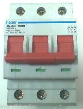 Hager SB399U 100 Amp triple Pole interruptor principal AC22A IEC 947 400V
