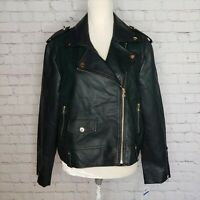 Style & Co Womens Faux Leather Moto Jacket Washed Green Size XL Zip NWT $99