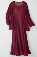 Seventh Avenue 2X Rayon Ruby Burgundy Maroon Jacket Dress Sheer Lace Pioneer