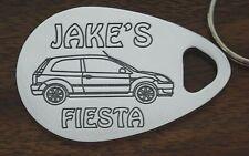 Personalised FORD FIESTA car keyring 3 door 02-08 ANY NAME engraved aluminium