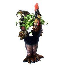 Road Runner Garden Flower Pot Hand Painted Chicken Run Metal Urn Roadrunner
