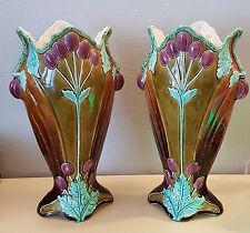 Art nouveau Pair de vase barbotine majolique paire de vase barbotine art nouveau