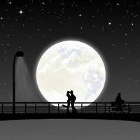 """perfect 30x30 oil painting handpainted on canvas """"lovers and the moon""""N12322"""