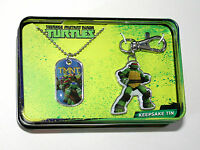 TMNT Turtles Teenage Mutant Ninja Dog Tag & Key Chain Tin Box New NOS 2015