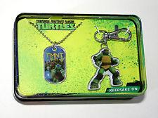 TMNT Turtles Teenage Mutant Ninja Dog Tag & Key Chain Tin Box New NOS 2015
