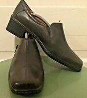 Women's Josef Seibel Brown Leather Side Zip Low Heel Shoes Sz 40 9/9.5