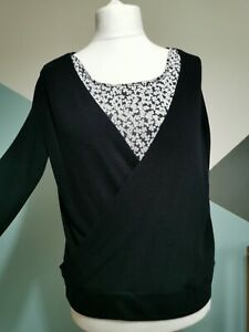 M&S Per Una  navy flower Wrap Style Jumper long Sleeves -  Size 14