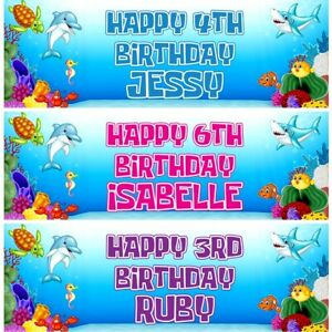 2 Personalised Sealife Birthday Party Celebration Banners Decoration Posters